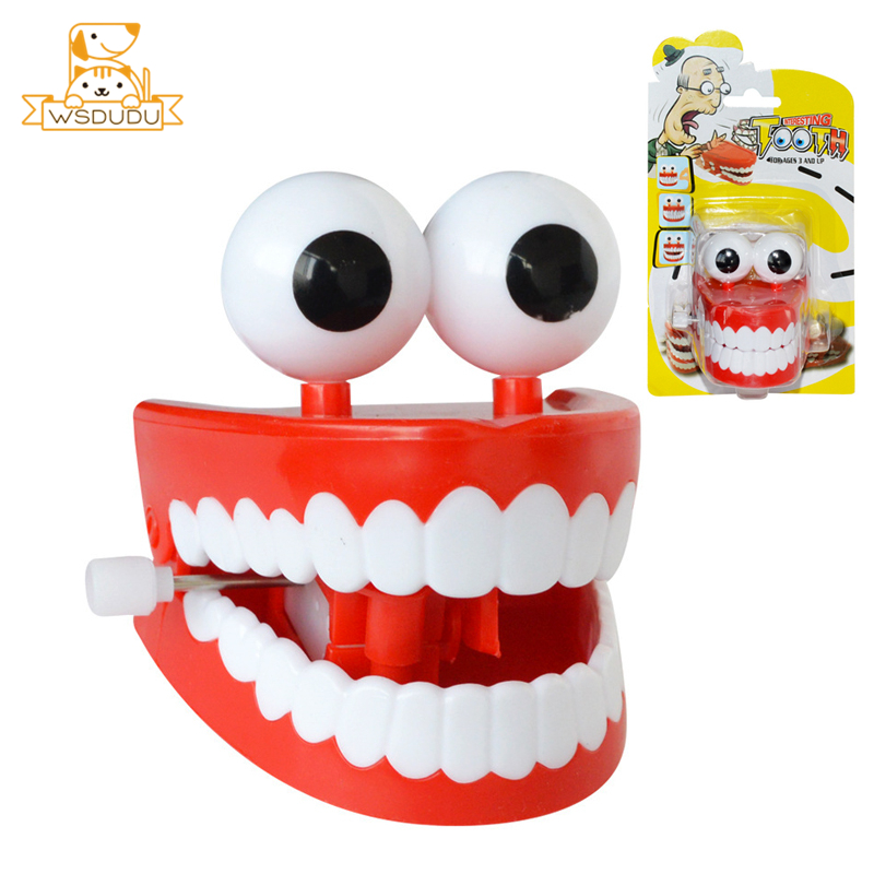Wind-Up Move Teeth Clockwork Funny Toys Cute Cartoon Jokes Plastic Educational Gifts Fun Tooth Figure Dolls For Children Kid New image