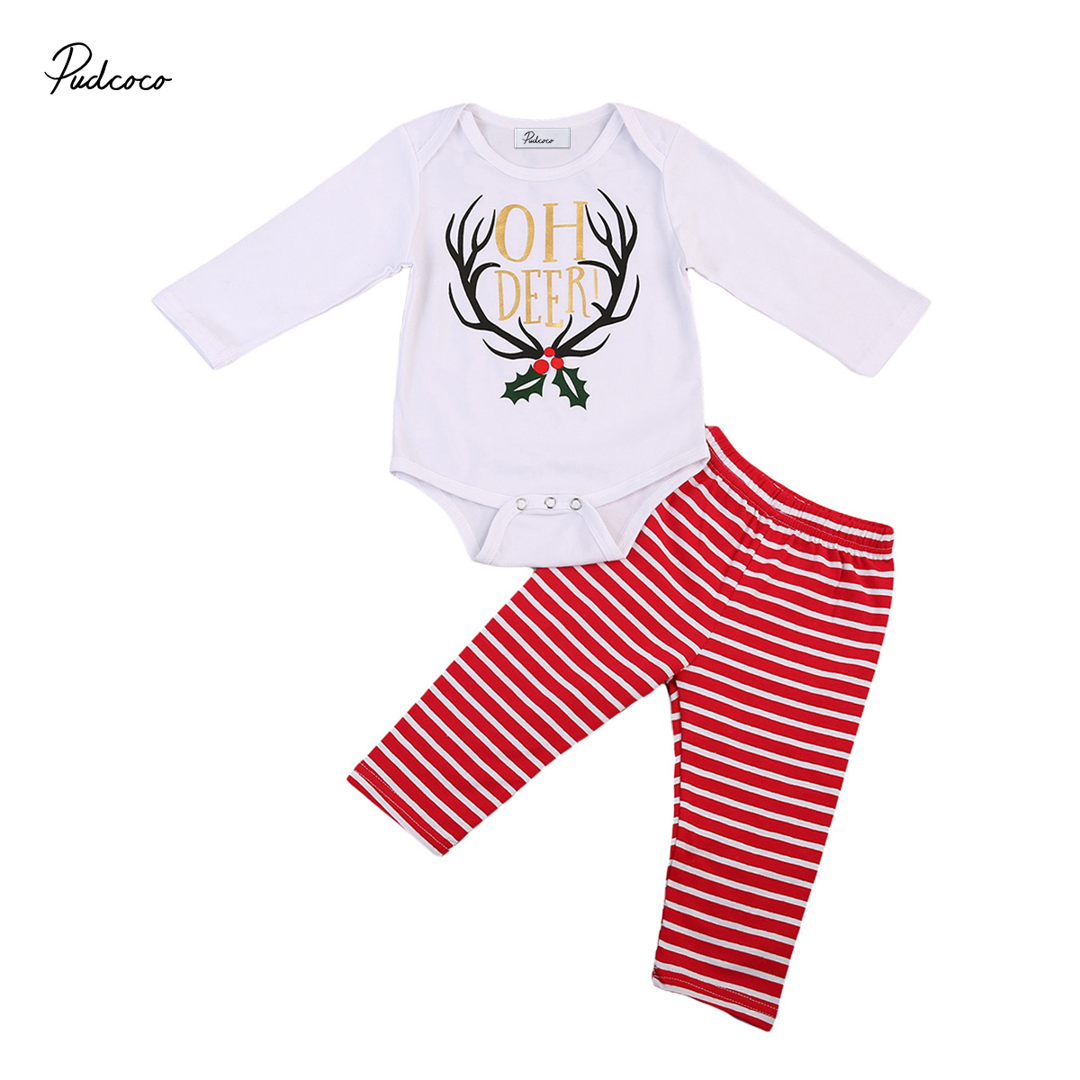 Christmas Suit 2017 New autumn baby girl clothes set Baby Girl cute deer print Romper+red Striped pants Outfits Set Clothes 18M
