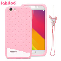 For OPPO A59 OPPO F1S Fabitoo 3D Cute Cartoon Rabbit Ice Cream Lanyard Soft Silicone Phone
