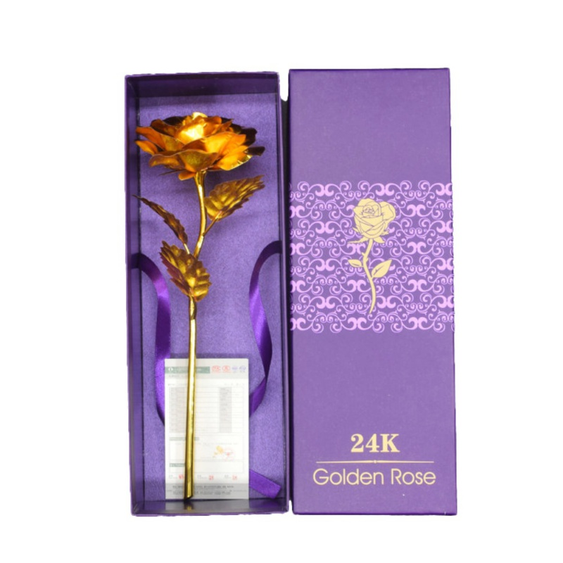 High End Gold Plated Rose Flower Valentine's Day Romantic Gift For Lover Girl Friend Home Party Decoration