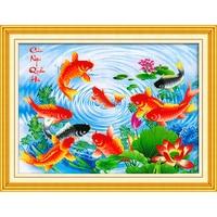 SHANSHIYOUPIN Diy Diamond Painting Cross Stitch Nine Fish Pattern Lotus Diamond Embroidery Rhinestone Mosaic Home Dector