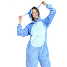 Adults Pajamas Women Flannel Sleepwear Unisex Cute Stitch Cartoon Animal