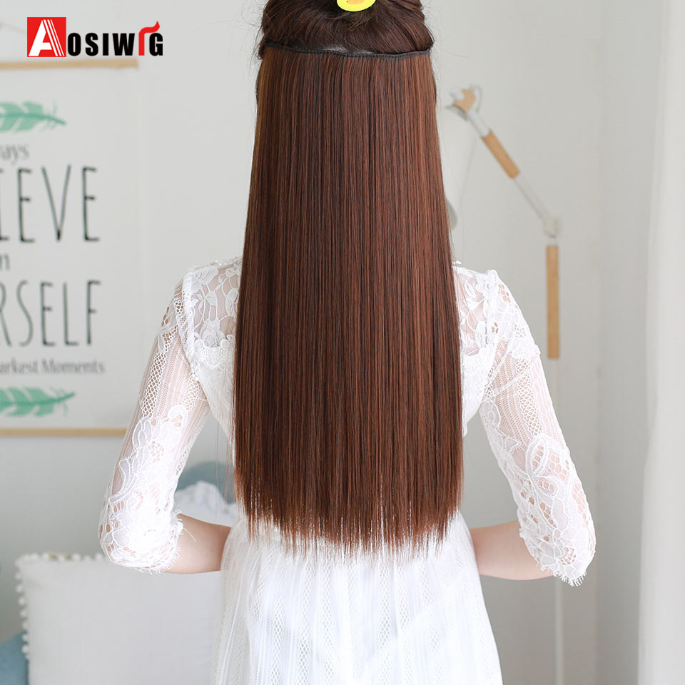 Good Buy Aosiwig 5 Clip Long Straight Natural Color Hair Extensions