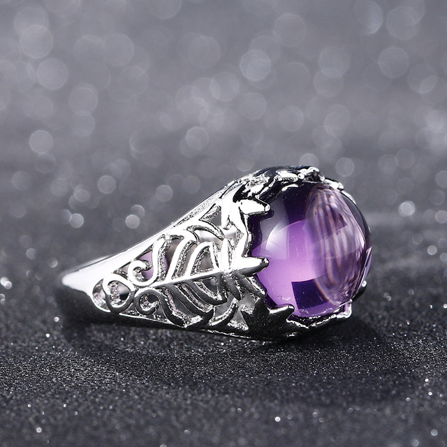Bague Ringen Vintage 100% 925 Sterling Silver Round Natural Amethyst Wedding Engagement Rings For Women Fine Jewelry Size 6-10 4