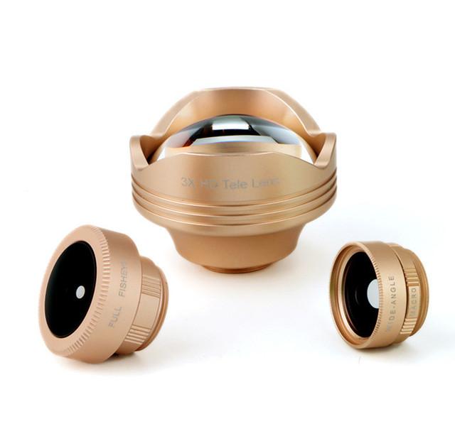 Lente Do Telefone móvel Kit 4em1 Schott Glas Lentes Olho de peixe Grande Angular Macro 3x lente teleobjetiva para iphone 5 5s 6 6 s além de 7 samsung