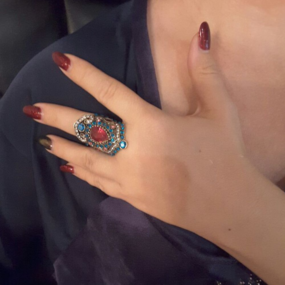 Dudee Jewelry Turkey Jewelry Retro Look Ruby Ring Plating Gold Mosaic Crystal Engagement Emerald
