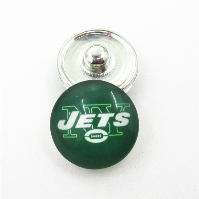 fbdd52f479e 20pcs/lot New York Jets Football Team Snap Button Charms DIY 18mm Football  Sports Ginger Snaps Bracelets Necklace Jewelry