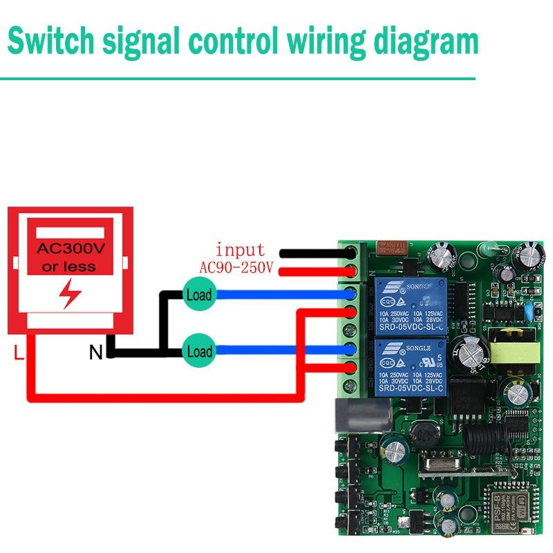 Купить с кэшбэком KTNNKG 433 MHz 10A Wifi Switch 2 Channel Relay home automation modules Wireless Receiver and Ev5127 433MHz RF Remote Controls