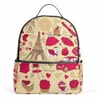 Backpack Cartoon Paris City Cute Backpacks Female Women Bags Notebook Bags Eiffel Tower School Bag for Teenager Girls Rucksack