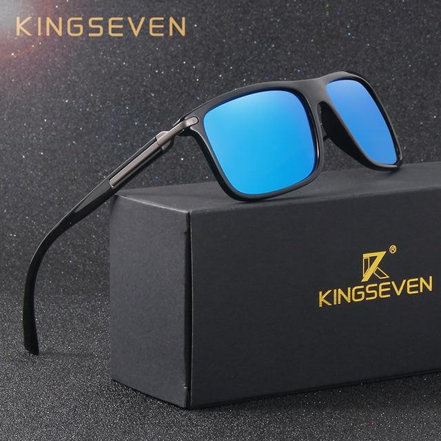 5ec223cca996 KINGSEVEN Mirror Polarized Sunglasses Men Square Sport Sun Glasses Women UV  protection With Original Accessories gafas