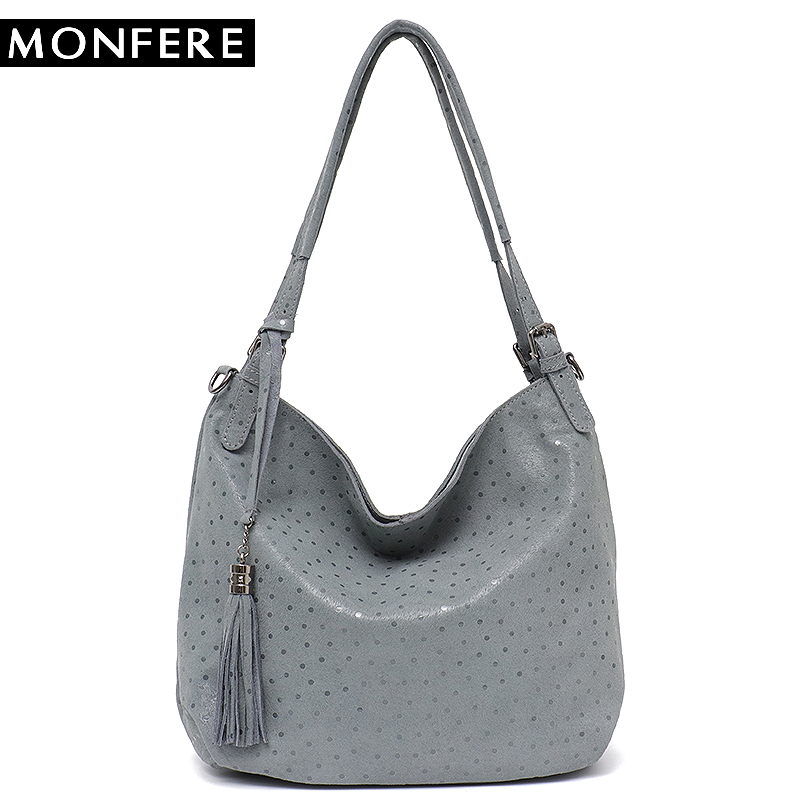 bf2fe5a015fd Detail Feedback Questions about MONFERE Women Leather Hobo Bag Large  Fashion Pillow Tassel Dot Dot Genuine Leather Bag for Ladies Messenger bags  Shoulder ...