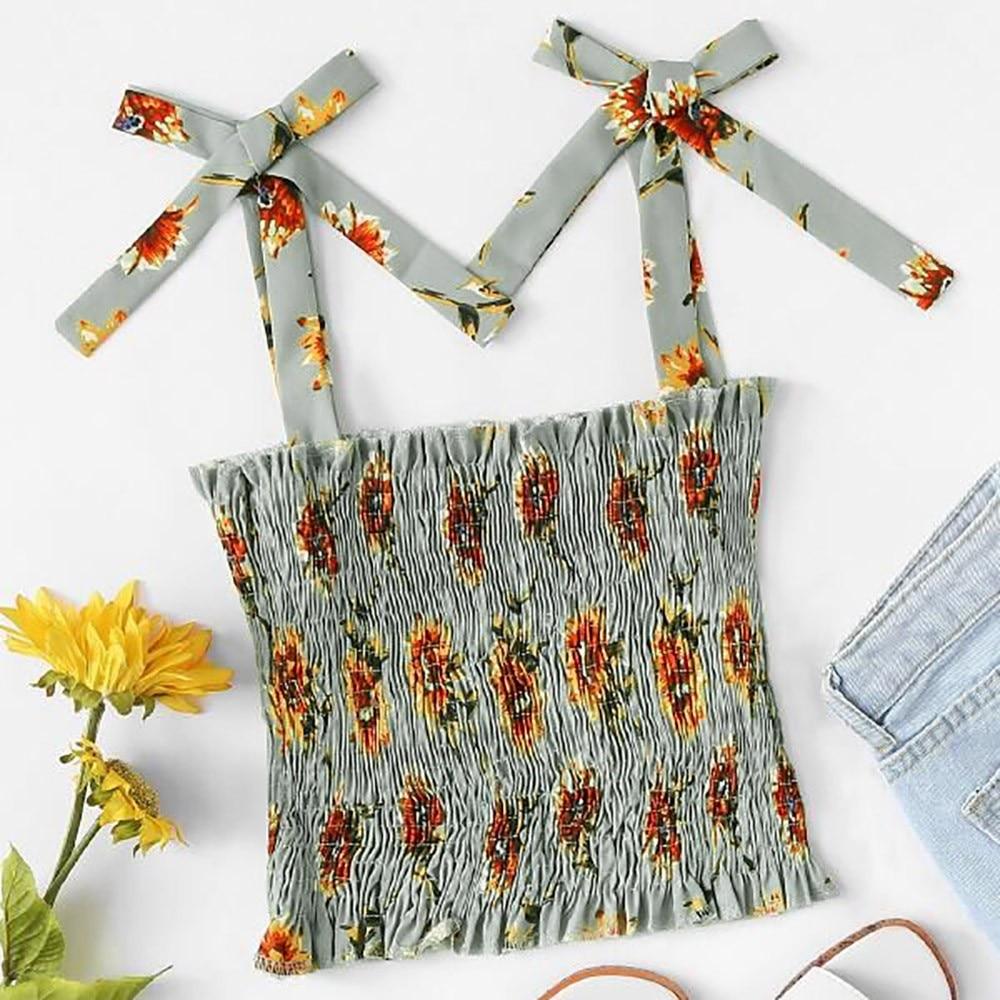Summer Women Sleeveless Tops Floral Print Tank Tops Cute Bow Off