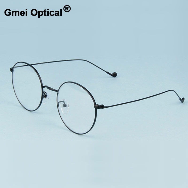 Gmei Optical Fashionable Urltra-Light Alloy Eyewear For Women & Men Myopia Reading Eyeglasses Frames Round Spectacles A1507