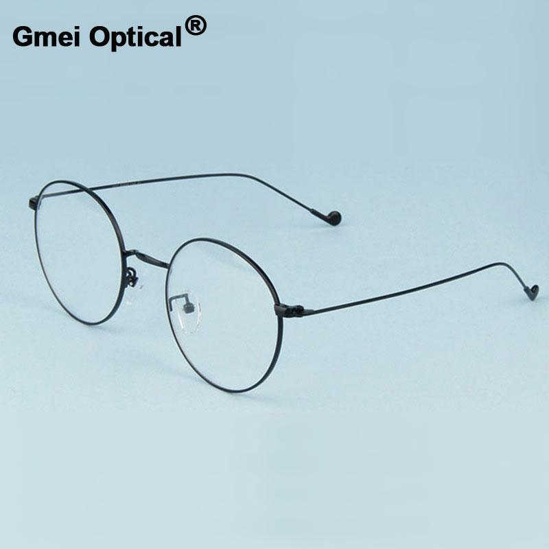 Gmei Optical Fashionable Urltra-Light Alloy Eyewear For Women & Men Myopia Reading Eyeglasses Frames Round Spectacles A1507