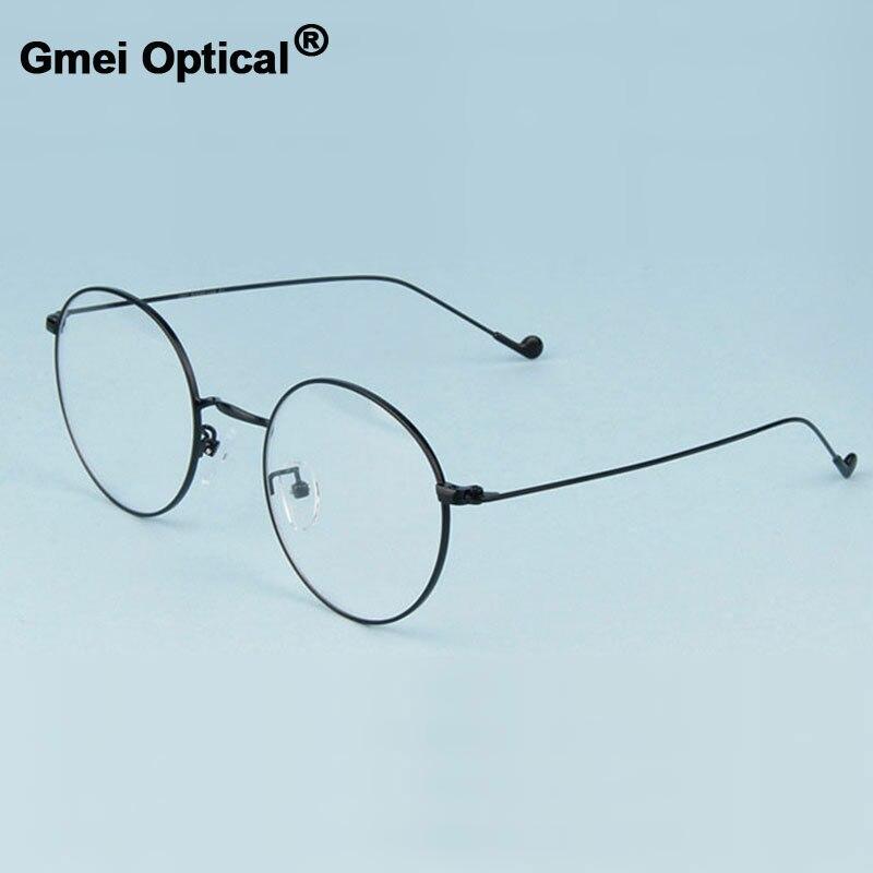 Gmei Optik Modis Urltra-Alloy Ringan Kacamata untuk Wanita & Pria Miopia Kacamata Baca Kacamata Bingkai Bulat Kacamata A1507