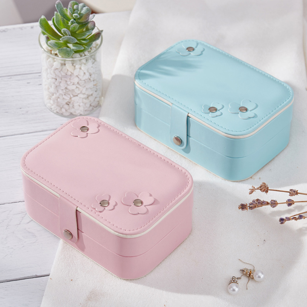 Box Storage Organizer  Portable Women Jewelry  2-Layer  Girls Travel Boxes  Gift Rectangle Earrings Ring Necklace Carrying Case