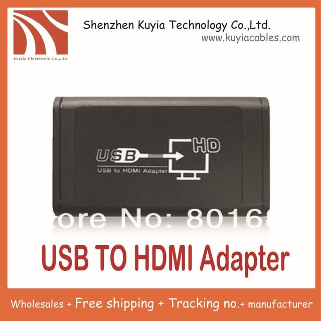 Free shipping+ USB to HDMI Converter Deveice Through the USB to HDMI Adapter supports resolution up to 1920x1080 (1080P) 32bit