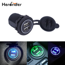 Herorider 12-24V USB Charger for Motorcycle Auto Truck ATV Boat LED Car 3.1A Dual USB Socket Charger Power Adapter Outlet Power(China)