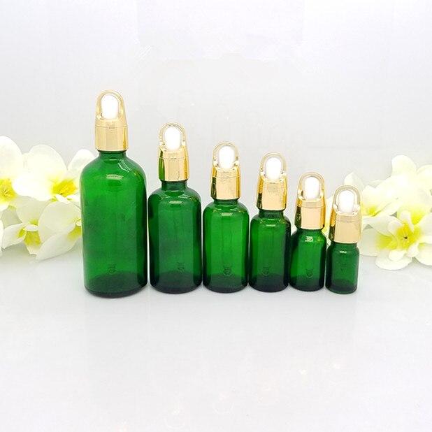Il trasporto libero 30/50 ml 4 pz/lotto vetro verde bottiglia di olio essenziale (con contagocce), Imballaggio diluizione bottiglia