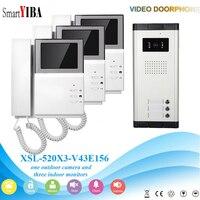 SmartYIBA 4.3'' House Intercom Handheld Video Intercom System LCD Color Display for 3 Apartment Video Door Bell IR Night Vision