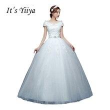 Свадебные платья с короткими рукавами It's Yiiya, Кружева Белое Длина пола, V-образным вырезом, Плюс размер, A-Line Дешевые блестки, Простое платье невесты, HS220,Лето