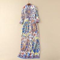 2018 Spring Runway Long Maxi Dress Women High Quality Fashion Long Sleeve Print Retro Vintage Dress