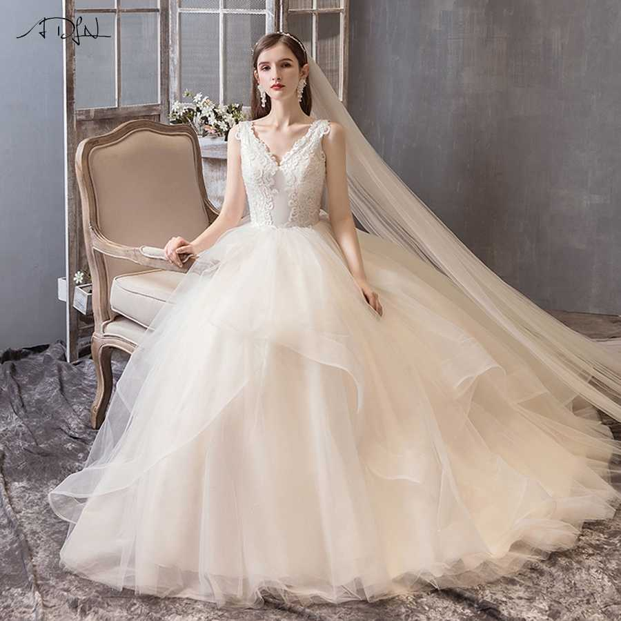 ADLN High Quality Ball Gown Wedding Dress 2019 Cap Sleeve Robe De Mariee Applique Ruffles Beading Tulle Bridal Gowns Custom
