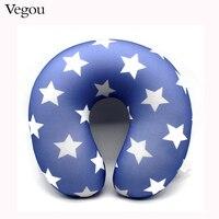 2016 New Fashion U Shape Neck Pillow Blue Star Pillow Rest Airplane Car Travel Pillow Foam