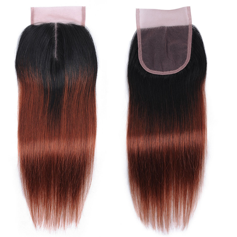 Brown Red 3 Ombre Bundles With Closure Human Hair Colored 1B 33 Brazilian Straight Hair Bundles With Closure Nonremy ShiningStar