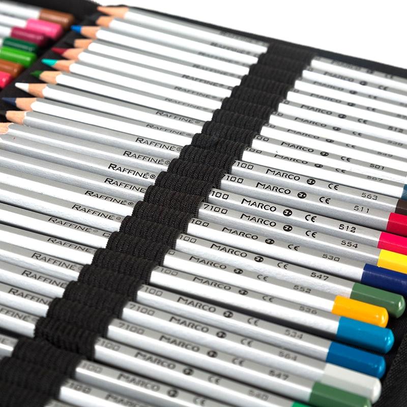 Profesional de la pintura de lápiz caso 160 titular de la portátil de cuero de la PU bolsas de almacenamiento de gran capacidad de para lápiz de color acuarela cepillo-in Estuches escolares from Suministros de oficina y escuela    2