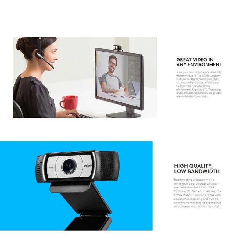 Webcam Logitech C930e 1080p HD avec obturateur d'intimité caméra Web à 90 degrés - 6