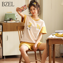 BZEL New Simple Pyjamas Women Cotton Short Sleeves Ladies Pajama Sets Cute Sleepwear Big Yard Homewe