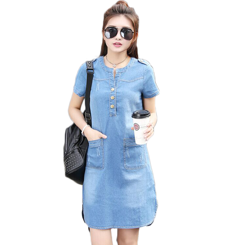 2019 Summer Loose Blue Jeans Dresses For Women Plus Size Short Sleeve O Neck Women Denim Dress Washed Vestidos 4xl 5xl Orders Are Welcome. Women's Clothing