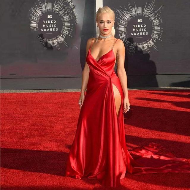 Red Hot Celebrity vestidos lado alto de hendidura Backless Rita Ora Red Carpet Dress 2016 vestido de noche largo