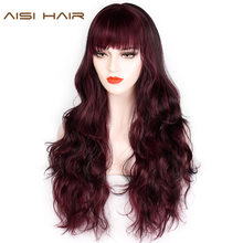 AISI HAIR Long Natural Wave Mixed Blonde Red with Bangs Synthetic Wigs Heat Resistant for Women African Hairstyle(China)
