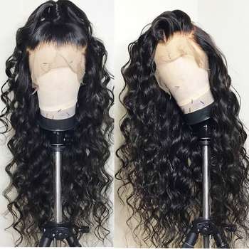 130 Density Loose Wave Wig Lace Front Human Hair Wigs For Women Natural Black Full End 13×4 Brazilian Lace front Wig Remy