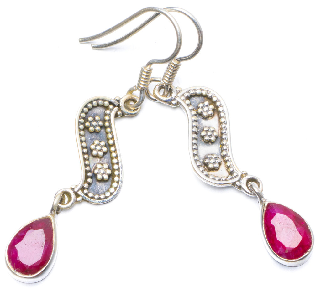 цена Natural Cherry Ruby Handmade Unique 925 Sterling Silver Earrings 1.75