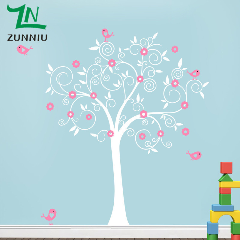 B42 Huge Nursery Tree Wall Decals With Birds Flowers Vinyl Wall Sticker Removable Nursery Playroom Girls Baby Room Wall Stickers