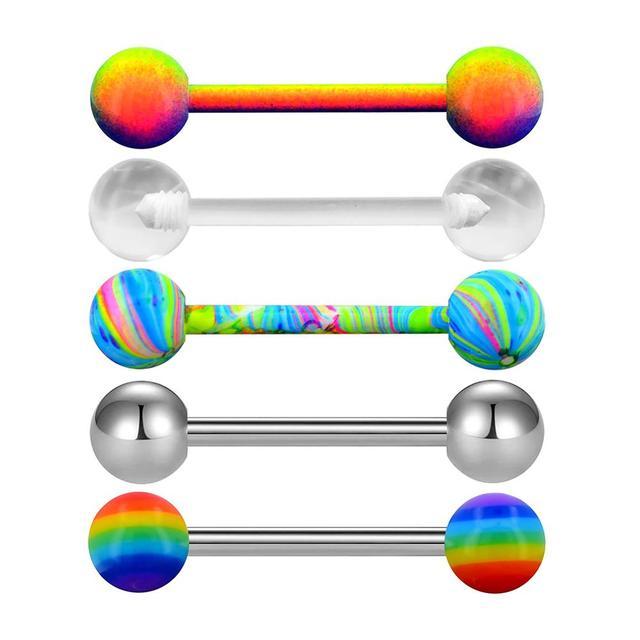 Пирсинг для языка в стиле панк 5 шт/компл яркие цветные цветочные