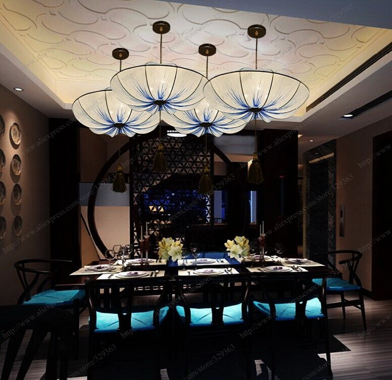 En gros 2017 hotsell chinois style traditionnel handscraft lotus feuille nénuphar tissus tissu pendentif lumière donner ampoule LED