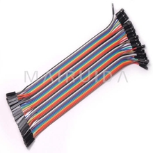 40pcs 20cm 2.54mm 1p-1p Pin Female to Female Color Breadboard Cable Jump Wire Jumper For Arduino Dupont cable