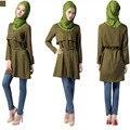 Manera de la correa botón de Algodón Poliéster A017 Diseño Camisa larga 3 colores Nuevo estilo Mujer Musulmana Abaya Islámica de manga larga Outwearing