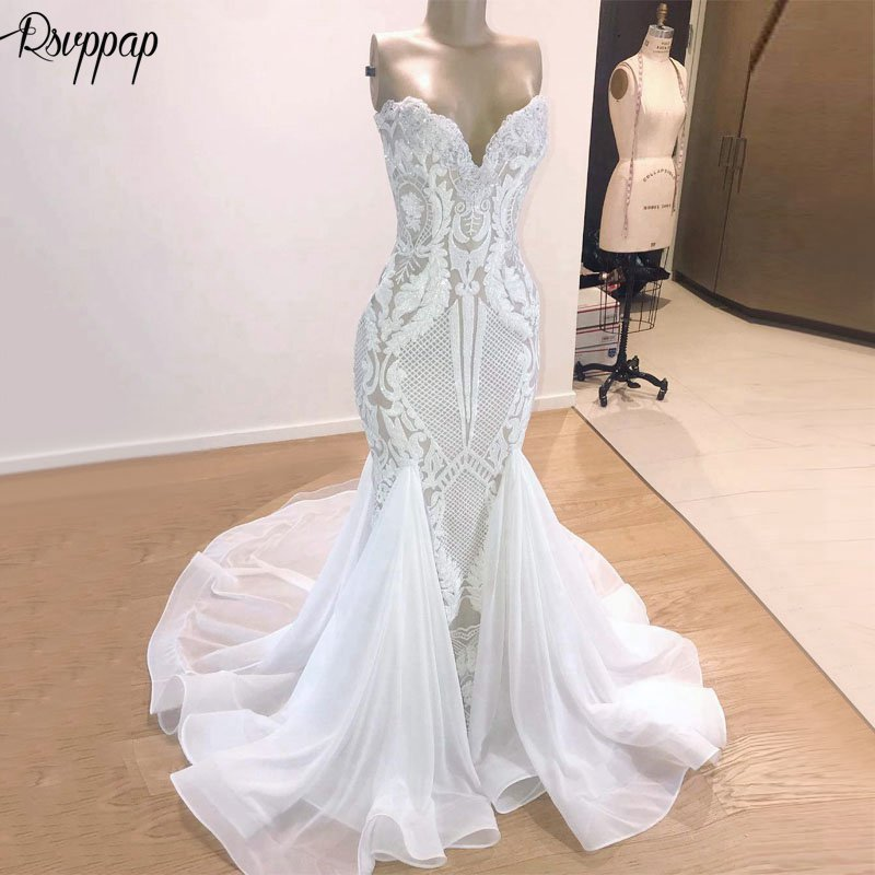 Luxury Elegant Mermaid Wedding Dress 2019 Trumpet V neck Sleeveless African Bling Bridal White Sequin Beach Wedding Gowns