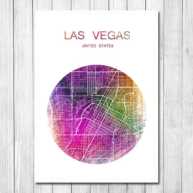 Las Vegas World City Map Vintage Retro Poster Krafts Paper Wall Art ...