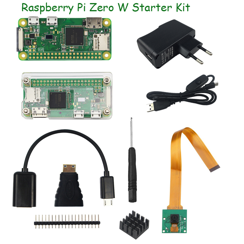 Raspberry Pi Zero W Starter Kit 5MP Camera +RPI Zero W ABS Case+Heat Sink+ 5V2A Power Adapter+16G SD Card+ Adapter Kit Mini HDMI(China)