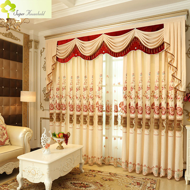 1 PC Romantic Curtains for Living Room Embroidered Luxury Kitchen Curtains for Bedroom Chenille Window Valance (Without Valance)