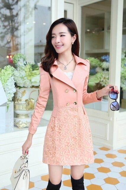 2016 new autumn coat Korean Slim lace long section of women's windbreaker free shipping women jacket Stylish