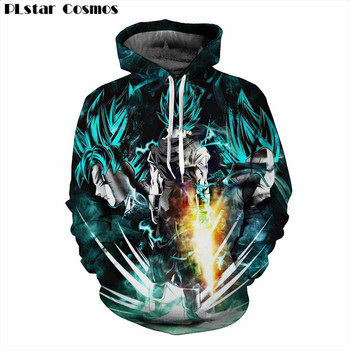PLstar Cosmos 2017 Anime Dragon Ball Z Super Saiyan 3d hoodies Men Women Anime Goku/Vegeta print Crewneck Pullovers Tracksuits