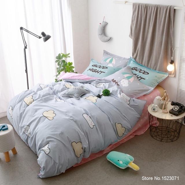 bleu bonne nuit nuage image enfants couvre lit taie d 39 oreiller ensemble de literie couette. Black Bedroom Furniture Sets. Home Design Ideas