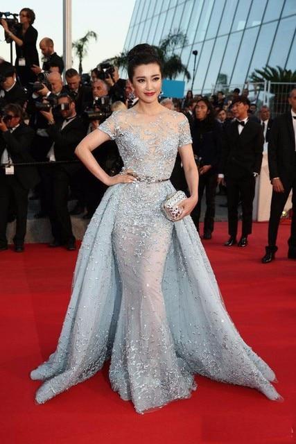 2017 Festival de Cine de Cannes Zuhair Murad Vestidos de La Celebridad Con El Tren Desmontable Sheer Cuello de Manga Corta Vestido de Noche Vestido de Fiesta